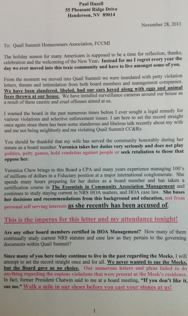 nov HOA letter page 1